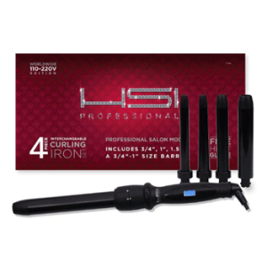 """HSI PROFESSIONAL CURLING IRON SET. 4 BARREL SIZES 3/4"""",1"""",1.5"""" AND 3/4-1"""""""